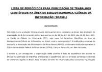 Lista de Periódicos para publicação de trabalhos científicos nas áreas de Biblioteconomia e Ciência da Informação