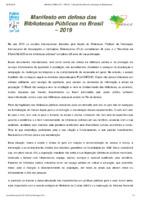 Manifesto em defesa das Bibliotecas Públicas no Brasil – 2019