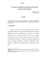 Políticas para preservação de acervos de bibliotecas: seleção de itens e métodos.