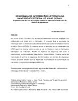 Segurança da informação eletrônica na Universidade Federal de Minas Gerais: diagnóstico de uso das tecnologias eletrônicas entre os bibliotecários do Sistema de Bibliotecas.